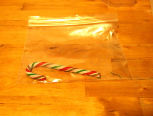 Candy cane in bag